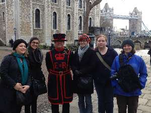 Students with London Beefeater